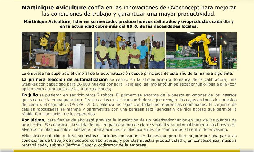 Martinique Aviculture confía en las innovciones de Ovoconcept